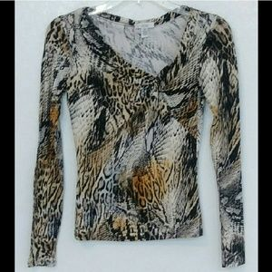 Cache animal printed long sleeve top